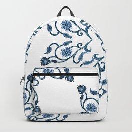 Blue Floral Heart Tile Backpack