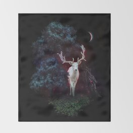 Magic white deer on moon phase dream Throw Blanket