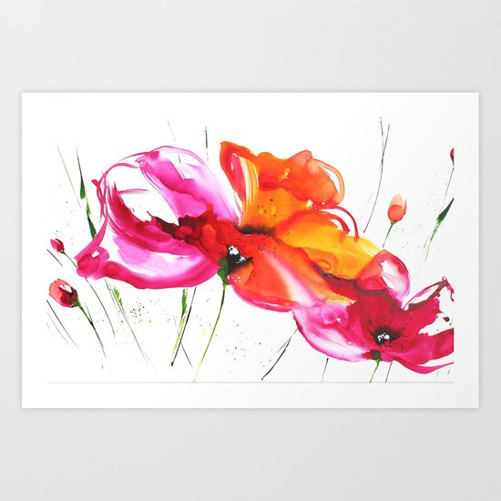 Abstract flower colorful painting Art Print