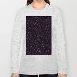 Atomic Starry Night in Neon Pink Glow Long Sleeve T-shirt