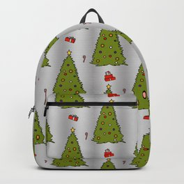 Silver Christmas Trees Candy Gift Boxes Pattern Backpack