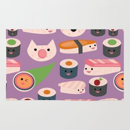 Kawaii sushi purple Rug