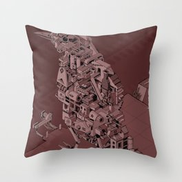 Red Bird Machine City Throw Pillow
