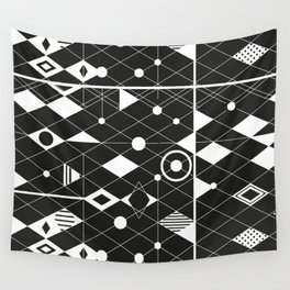 Black and white graphic Wall Tapestry