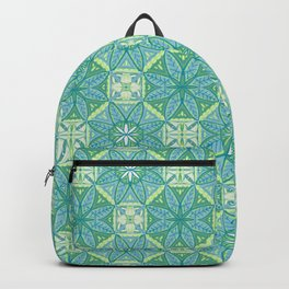 Green Lisbon Tile Geometric Print Backpack