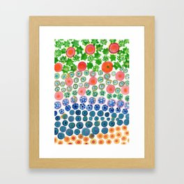 Playful Green Stars and Colorful Circles Pattern Framed Art Print