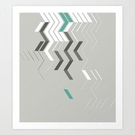 Deconstructed Chevron B – Gray / Teal Abstract Pattern Art Print
