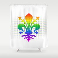 fleur de lis Shower Curtains featuring Rainbow Fleur-de-Lis by Cool Prints