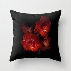 Scarlet Amaryllis Throw Pillow