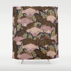 Vintage Art Deco Bat and Flowers Shower Curtain