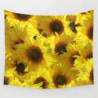 sunflowers Wall Tapestries featuring Sunflowers by LLL Creations