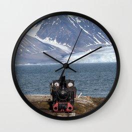 Old locomotive in Svalbard landscape Wall Clock