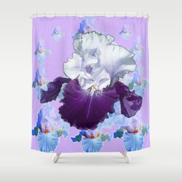 PURPLE IRIS BLUISH IRIS GARDEN MIRAGE  ABSTRACT Shower Curtain
