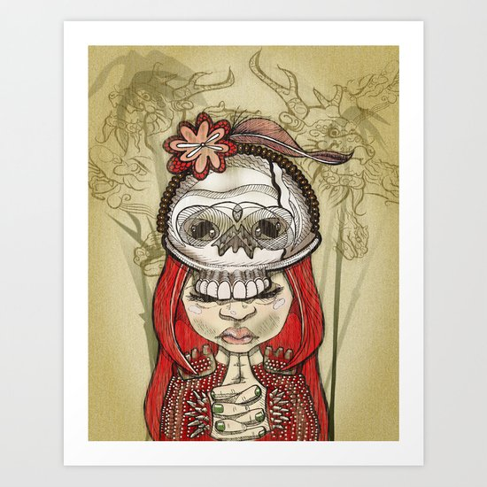 i wear my lucky skull Art Print