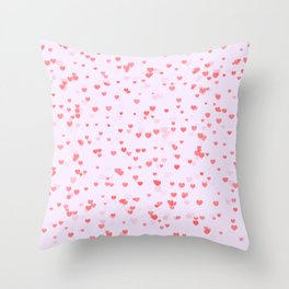 Pink and Purple Hearts Throw Pillow
