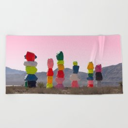 Seven Magic Mountains with Pink Sky - Las Vegas Beach Towel