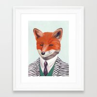 mr fox Framed Art Prints featuring Mr. Fox by Animal Crew
