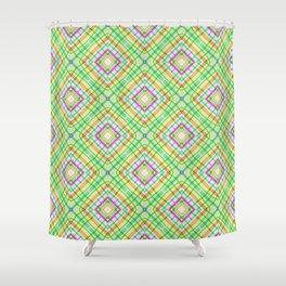 Green Neon Plaid Shower Curtain