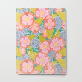 Floating Flowers in Pink and Green Metal Print
