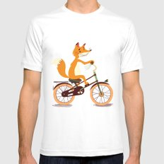 Little fox on the bike Mens Fitted Tee MEDIUM White