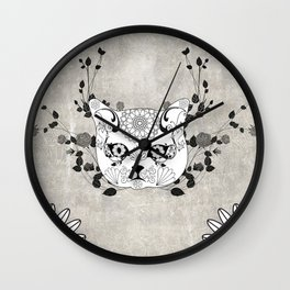 Wonderful sugar cat skull Wall Clock
