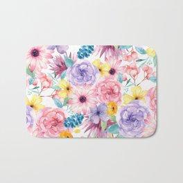 Modern elegant pink lavender yellow watercolor floral Bath Mat
