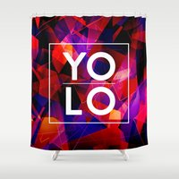 sayings Shower Curtains featuring Dreams of YOLO Vol.2 by HappyMelvin