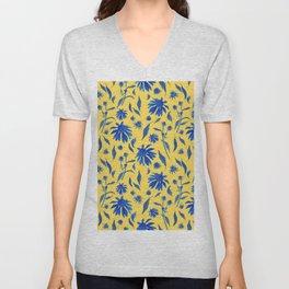 Elegant Blue Cone Flowers on Mustard Yellow Unisex V-Neck
