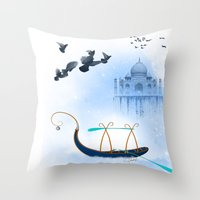 voyage Throw Pillows featuring VOYAGE by Rash Art