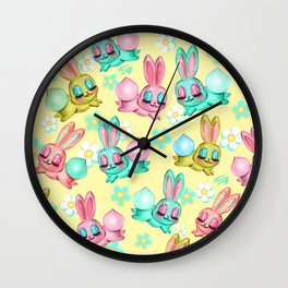 Bunnies and Daisies on Yellow Wall Clock