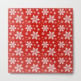 SNOWFLAKES ON RED Metal Print