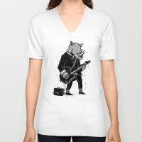 rhino V-neck T-shirts featuring Rhino by Ronan Lynam