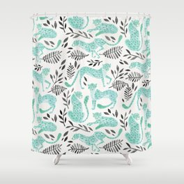 Cheetah Collection – Mint & Black Palette Shower Curtain