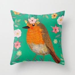 Robin Bird with flowers Throw Pillow