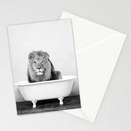Male Lion in a Vintage Bathtub (bw) Stationery Cards