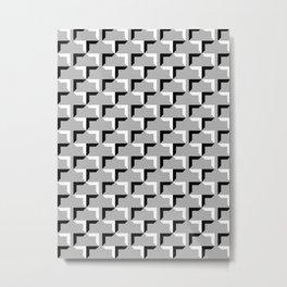 Cornered Pattern - Black and White on Gray Metal Print