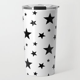 Stars pattern White and Black Travel Mug