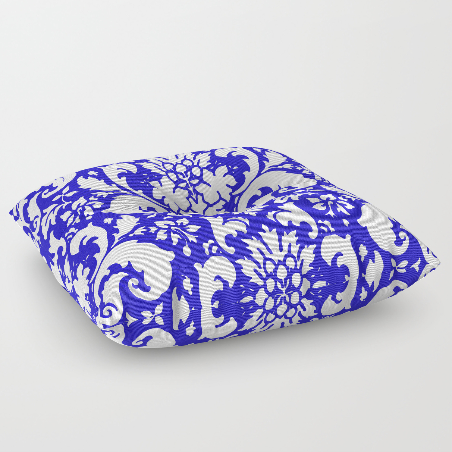 Paisley Damask Blue And White Floor Pillow By Saundramyles Society6