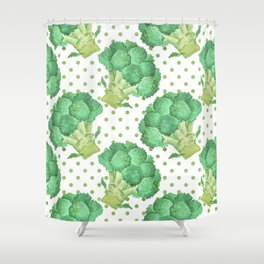 Broccoli on Green dotted Background Shower Curtain