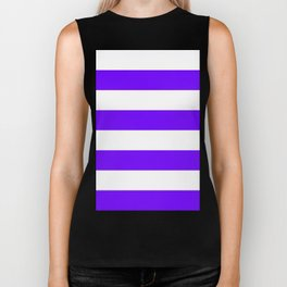 Wide Horizontal Stripes - White and Indigo Violet Biker Tank