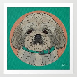 Icons of the Dog Park: Shih Tzu Design in Bold Colors for Pet Lovers Art Print Art Print