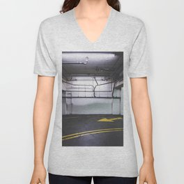parking lot with the yellow arrow and tubes Unisex V-Neck