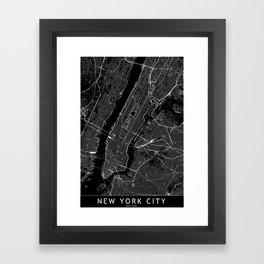New York City Black Map Framed Art Print