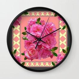 VINTAGE STYLE PINK ROSES PATTERN GREY ART Wall Clock