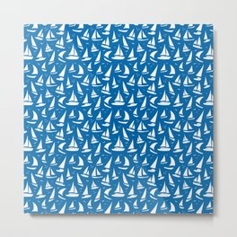 Cool Sailing Boats Pattern on Sea Blue Metal Print