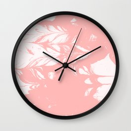 Tan - spilled ink rose pink marble marbling japanese watercolor water wave Wall Clock