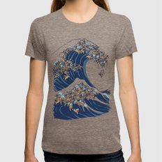The Great Wave of English Bulldog Womens Fitted Tee MEDIUM Tri-Coffee