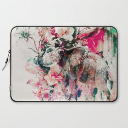 Watercolor Elephant and Flowers Laptop Sleeve