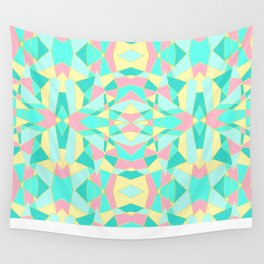 Pink, Yellow, and Teal Geometric Kaleidoscope Wall Tapestry