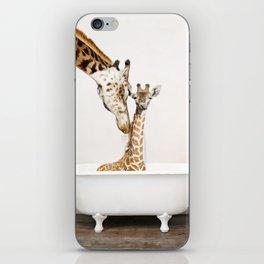 Bathitude - Mother & Baby Giraffe in a Vintage Bathtub (c) iPhone Skin